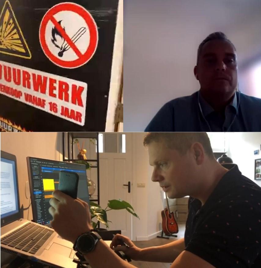 Inspecteurs zijn bezig met een videocontrole van een bedrijf