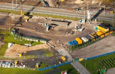 Luchtfoto Contactweg werkzaamheden spooronderdoorgang